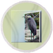 Great Blue Heron - Red-cyan 3d Glasses Required Round Beach Towel
