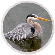 Great Blue Heron 3 Round Beach Towel