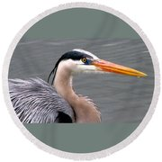Great Blue Heron 5 Round Beach Towel