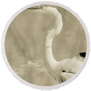 Great Blue Heron Alternate Processed Round Beach Towel