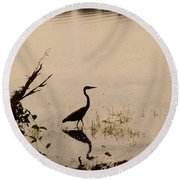 Great Blue Heron At Rollins Round Beach Towel