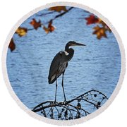 Great Blue Heron At Shores Of King's Mountain Point Round Beach Towel