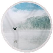 Great Blue Heron Flight Over Foggy Lake Round Beach Towel