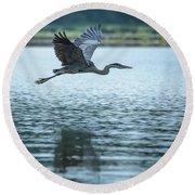 Great Blue Heron Flying Round Beach Towel