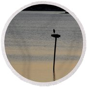 Great Blue Heron I Round Beach Towel