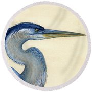 Great Blue Heron Portrait Round Beach Towel