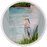 Great Blue Heron Two Round Beach Towel