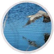 Great Blue In Flight #3 Round Beach Towel