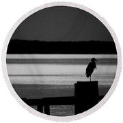 Evening On The York River Round Beach Towel