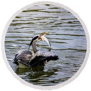 Great Blue With A Drum Round Beach Towel