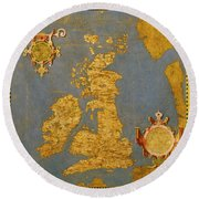 Great Bretain And Ireland Round Beach Towel