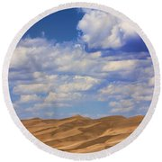 Great Colorado Sand Dunes Mixed View Round Beach Towel