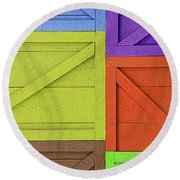 Great Crates - Multicolored Packing Boxes Stacked Round Beach Towel