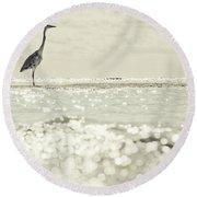 Great Egret Aka Great White Grey Heron In Maldives Round Beach Towel