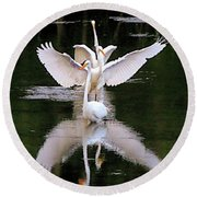 Great Egret Ballet Round Beach Towel