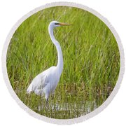 Great Egret In The Spring  Round Beach Towel