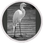 Great Egret On The Pier - Black And White Round Beach Towel