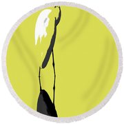 Great Egret Reflection Gold Round Beach Towel