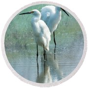 Great Egrets Round Beach Towel