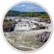 Great Falls National Park Virginia Round Beach Towel