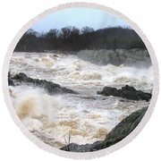 Great Falls Torrent Round Beach Towel