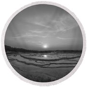 Great Fountain Geyser Sunset Bw Round Beach Towel