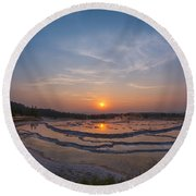 Great Fountain Geyser Sunset  Round Beach Towel