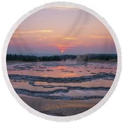 Great Fountain Geyser Sunset Reflections Round Beach Towel