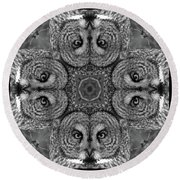 Great Gray Owl Stare Down Round Beach Towel