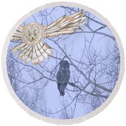 Great Gray Owl Together Round Beach Towel