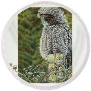 Great Grey Owl Round Beach Towel