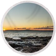 Great Head Beach Sunrise Round Beach Towel