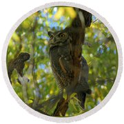 Great Horned Majesty Round Beach Towel