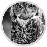 Great Horned Owl Bw IIi Round Beach Towel