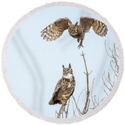 Great Horned Owl Couple Round Beach Towel