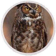 Great Horned Owl Digital Oil Round Beach Towel