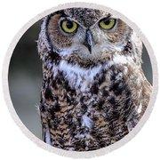 Great Horned Owl IIi Round Beach Towel