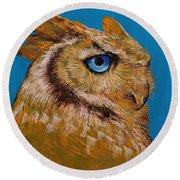 Gold Owl Round Beach Towel
