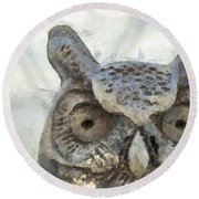 Great Horned Owl Pencil Round Beach Towel