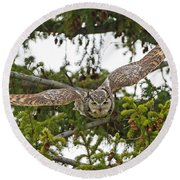 Great Horned Owl Takeoff Round Beach Towel