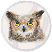 Great Horned Owl Watercolor Round Beach Towel
