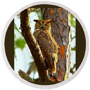 Great Horned Owl Wink Round Beach Towel