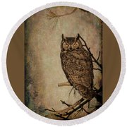 Great Horned Owl With Textures Round Beach Towel