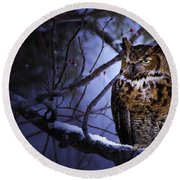 Great Horned Round Beach Towel
