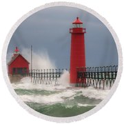 Great Lakes Fury Round Beach Towel
