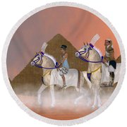Great Pyramids And Nobility Round Beach Towel