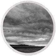 Great Salt Lake Clouds At Sunset - Black And White Round Beach Towel