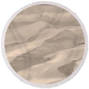 Great Sand Dunes  - In Sepia Round Beach Towel