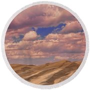Great Sand Dunes And Great Clouds Round Beach Towel