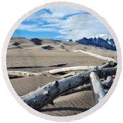 Great Sand Dunes National Park Driftwood Landscape Round Beach Towel